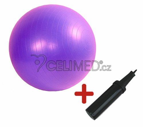 Míč GYMY ABS zesílený - fialový, průměr 65 cm +hustilka NAVÍC!