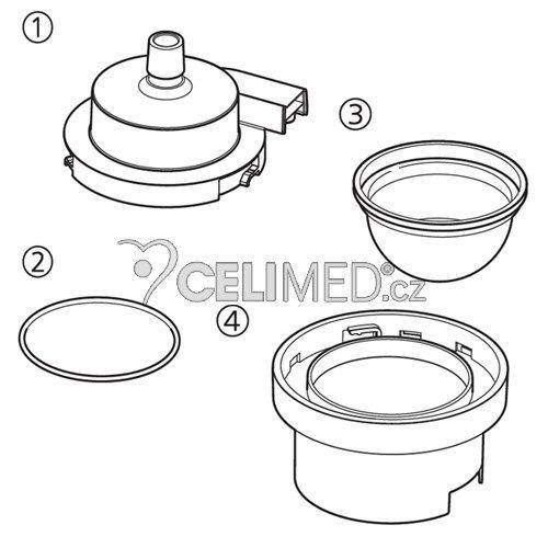 Nebulizační souprava (kryt medikač.tanku,těsnící kroužek,medik.tank,držák medik.tanku) pro NE-U780