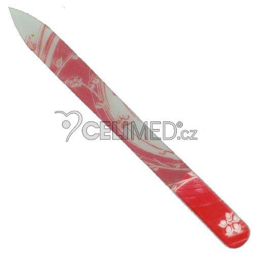 043 Pilník skleněný s potiskem červený s bílými květy, 135 mm
