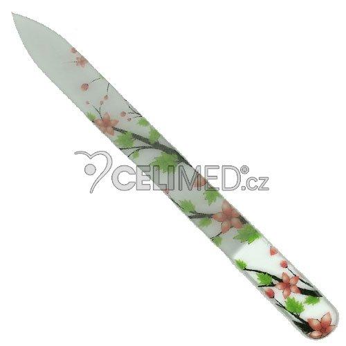 045 Pilník skleněný s potiskem okrově-hnědé květy, zelené lístky, 135 mm