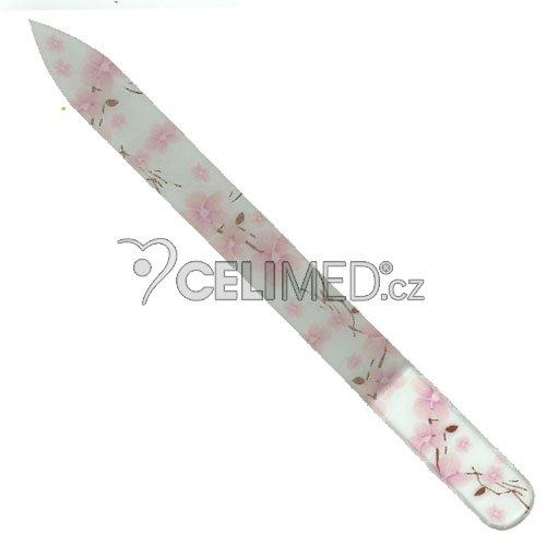 049 Pilník skleněný s potiskem růžové, jarní květy, 135 mm